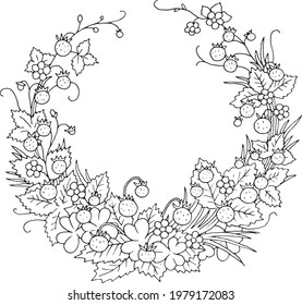 Summer wild strawberry floral nostalgic elegant romantic old fashioned wreath contour coloring page