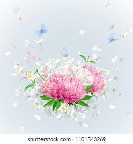 Summer wind - luxurious white vector Hydrangea flower,  Apple blossom, Pink Chrysanthemums with flying petals in watercolor style for 8 March, wedding, Valentine's Day,  Mother's Day, seasonal  sales