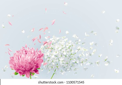 Summer wind - white vector Hydrangea flower, Apple blossom and pink Chrysanthemumwith flying petals in watercolor style for 8 March, wedding decoration, Valentine's Day,  Mother's Day, seasonal sales