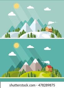 Summer and winter landscape. Flat design style vector illustration.