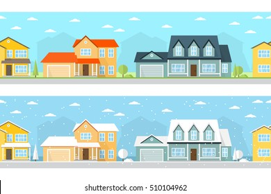 Summer and Winter town landscape. Vector illustration, flat style. For web design and application interface, also useful for infographics. Seamless Neighborhood with homes.
