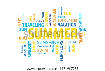 summer word cloud stock vector royalty free 1171957735 shutterstock