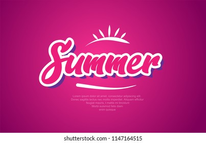 summer word text with red broken heart with arrow concept, suitable for logo or typography design