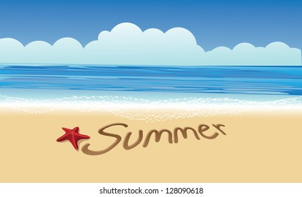 Summer Writing In Sand EPS 8 vector, no open shapes or paths. Grouped for easy editing.