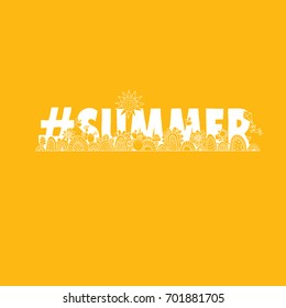 #summer yellow vector illustration with the word hash tag summer, swirls, sunshine, flowers, cactus, ice-cream and flies