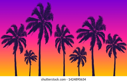 Summer yellow violet background with palm trees at sunset, vector art illustration.