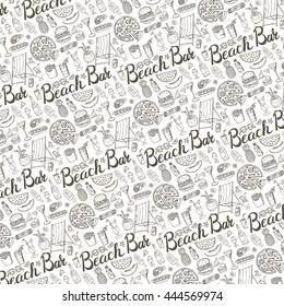 Summer.Beach bar menu.Hand drawn doodle vector pattern backboard.Cocktail advertisement.Fast food icon,drink,beverage range,fruit,juice,alcohol.Retro outline illustration.Summertime,vacation