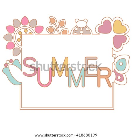 summer invitation background happy birthday vector card template