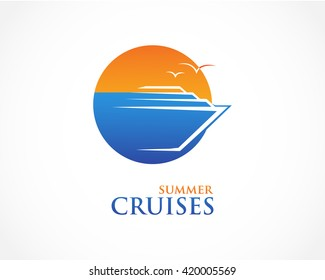 Summer,ocean cruise ship logo icon vector