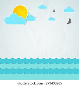 Summertime background with space for your text. Vector illustration with sun, clouds, birds and waves from the sea. Summer background with paper texture
