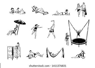 Summertime, children building sandcastle, women sunbathing, couple playing game, people in swimwear set. Summer recreation, sand beach activities concept sketch. Hand drawn vector illustration