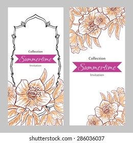 Summertime collection. Romantic botanical invitation. Greeting card with floral background.