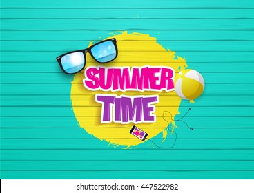 Summertime Design. Painted wood background, with graffiti style, readable summertime text, and beach objects.