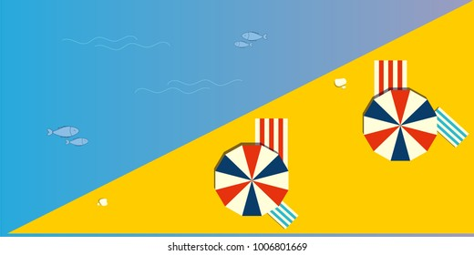 Summertime flat minimalistic vector illustration: panoramic or top view of a summer beach with shade umbrellas or parasols. Could be used as summer beach background.