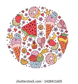 Summertime. Fun illustration with ice cream and sweets.