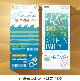 summertime holiday party boarding pass background vector template for summer card