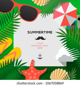 Summertime Holiday and Summer Camp poster, vector illustration.