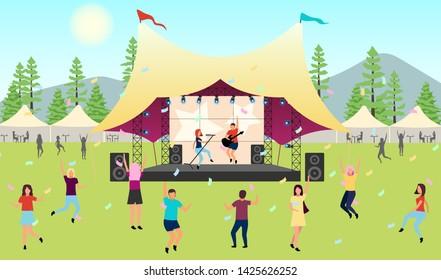 Summertime music festival flat vector illustration. Open air live performance. Rock, pop musician concert in park, camp. Enjoying music outside in summer. Dancing cartoon characters