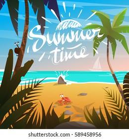 Summertime on beach by the sea.Plants around.Cartoon vector illustration