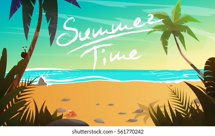 Summertime on the beach. Palms and plants around.Cartoon vector illustration. Summer vacation on sea coast