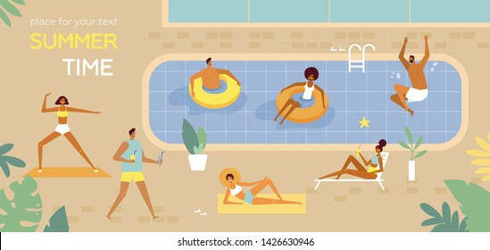 Summertime poster. Pool Party. People swim, sunbathe, dive, relax, have a fun time in the pool. Vector cartoon illustration. Flat design, trendy style. Character of young men and women. Top view
