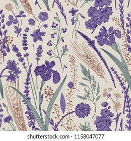 Summertime. Seamless pattern. Flowers and plants of fields and forests. Vector vintage botanical illustration. Purple and emerald
