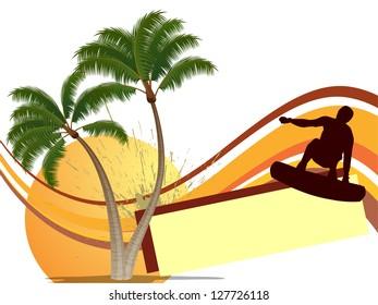 Summertime - surfing - vector