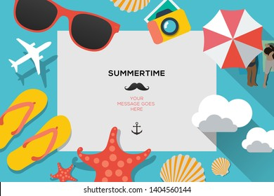 Summertime traveling template with beach summer accessories, flat design, vector illustration.