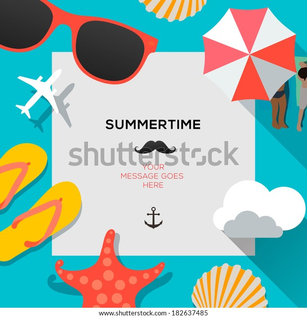 Summertime traveling template with beach summer accessories, vector illustration.