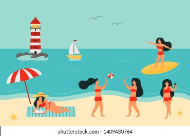 Summertime vector flat illustration. People on the beach. A woman sunbathes and reads a book. Play a beach ball. Take a selfie. Surfer girl on surfboard. Summer vacation banner design.
