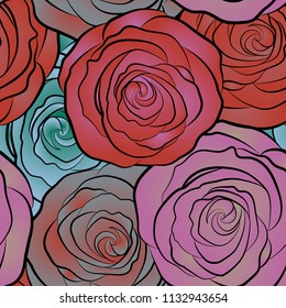 Summertime vector floral seamless pattern. Abstract background composition with rose flowers in orange, violet and pink colors, splashes, doodles and stylized flowers.