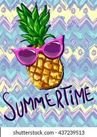summertime vector illustration, pineapple with sunglasses tropical vector illustration, the idea for the summer print,