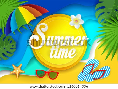 a2cdcf6ca6e54 Summertime Vector Paper Cut Illustration Tropical Stock Vector ...