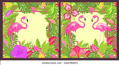 Summery floral backgrounds variation with place for text with tropical leaves, pair of lovely pink flamingo and exotic flowers for Tshirt, summer party poster, greeting card and wedding invitation