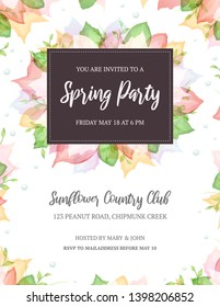 Summery invitation template with room for your own text. Suitable for a spring, summer or garden party invitation. The fonts are called Raustila and PT Serif.