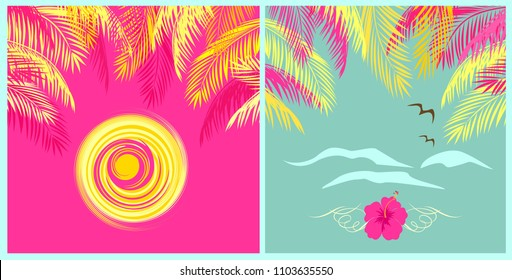 Summery mint color and pink backgrounds with palm leaves, sun, seagull and hibiscus