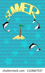 Summery Pattern with the Island, Starfishes and Seashells. Turquoise Contour Silhouettes Isolated on the Marine Background.  Poster for Print in a Flat Style. Vector Illustration