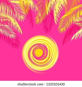 Summery t-shirt print with yellow palm leaves and hot sun on pink background