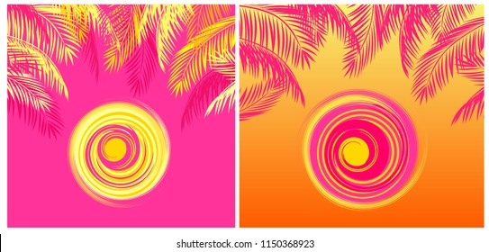 Summery t-shirt tropical prints variation with yellow and pink coconut palm leaves and hot sun on pink and orange backgrounds