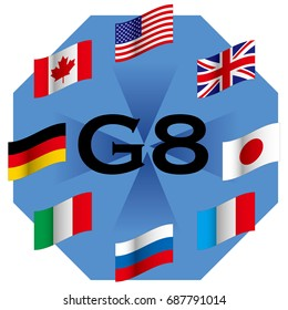 Summit of developed countries, image of G8, national flag of G8 participating countries, vector data
