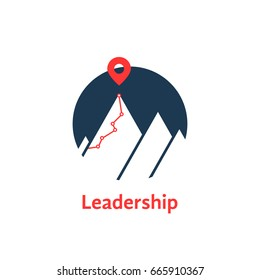 summit icon like leadership logo isolated on white. concept of successful progress or career ladder and mountaineering or alpinism or hiking. simple flat style trend modern logotype graphic art design