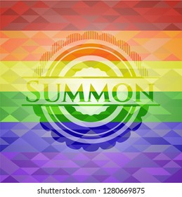 Summon emblem on mosaic background with the colors of the LGBT flag