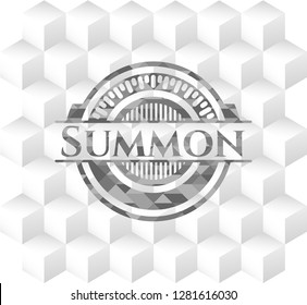Summon grey badge with geometric cube white background