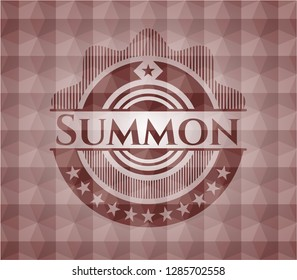 Summon red seamless badge with geometric pattern.