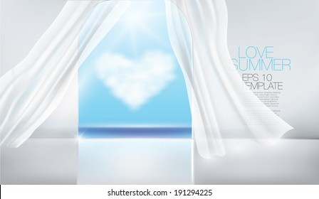 Sumner ocean view balcony with white curtains. Editable vector template.