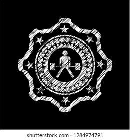 sumo deadlift icon inside chalk emblem
