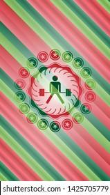 sumo deadlift icon inside christmas style emblem.