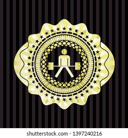 sumo deadlift icon inside gold emblem