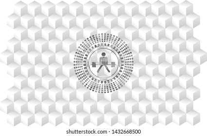 sumo deadlift icon inside grey emblem. Vintage with geometric cube white background