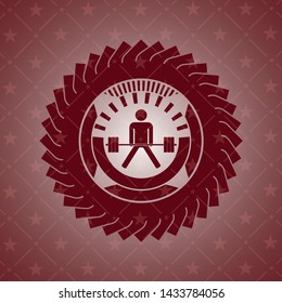sumo deadlift icon inside realistic red emblem